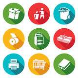 Waste paper Icons Set. Vector Illustration Stock Photos