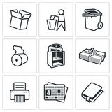 Waste paper icons. Vector Illustration. Royalty Free Stock Photography