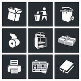 Waste paper icons. Vector Illustration. Stock Images