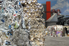 Waste paper processing Stock Images