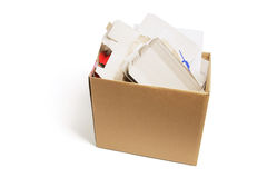 Waste Paper Products in Carboard Box Royalty Free Stock Photo