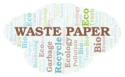 Waste Paper word cloud. Wordcloud made with text only royalty free illustration