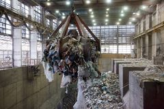 Waste Pile. Big pile of garbage at a waste processing plant Stock Image
