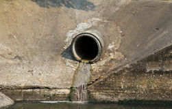 Waste pipe or drainage polluting environment. Royalty Free Stock Photos