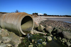 Waste pipe sewage Stock Photography