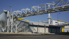 Waste plant blue sky pan stock video footage