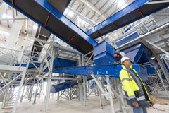 Waste plant inside process engineer test stock photos
