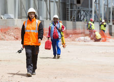 Waste plant outside process female worker Royalty Free Stock Images