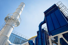 Waste processing pipeline system with turbine Stock Photos