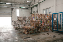 Waste processing plant. Technological process. Recycling and storage of waste for further disposal. Business for sorting Stock Image