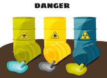 Waste products flow from the barrels with the sign of dangerous. Vector Royalty Free Stock Photo