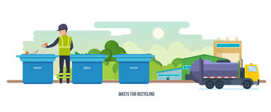 Waste for recycling. Cleaning city. Household waste. Garbage truck. Stock Photo