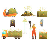 Waste Recycling And Disposal Related Object Around Garbage Collector Man Set Of Cartoon Bright Icons. Trash Cleaning Professional In Dungarees And His Royalty Free Stock Photo