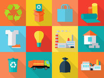 Waste Recycling Icons Sign Symbols. Sorting Waste. As paper, glass, plastic, cloth, rubber. Environmental protection. Garbage destroying. Eco plants and fabrics Stock Photography