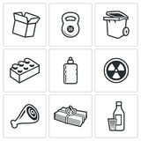 Waste and recycling Icons. Vector Illustration. Stock Image