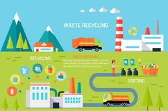 Waste Recycling Infographic Vector Concept. Waste recycling infographic concept. Vector in flat design. Worker sorting different types of garbage. Truck royalty free illustration