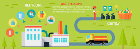 Waste Recycling Infographic Vector Concept. Waste recycling infographic concept. Vector in flat design. Worker sorting different types of garbage. Truck Stock Images