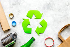 Waste and recycling symbol in eco care on stone top view mock-up Stock Photos