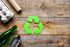 Waste and recycling symbol in eco care on table top view mockup Stock Photos