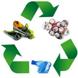 Waste recycling Symbol in white background royalty free stock photos