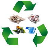 Waste recycling Symbol in white background. Waste recycling Symbol on white background Royalty Free Stock Photography
