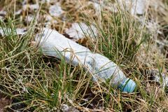 Waste and rubbish in the forest. Plastic bottles, cans and glass. In the forest. Littered nature. Forest in the winter Stock Images