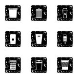 Waste rubbish icons set, grunge style. Waste rubbish icons set. Grunge illustration of 9 waste rubbish vector icons for web Royalty Free Stock Images