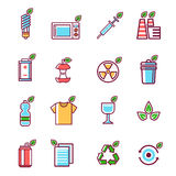 Waste rubbish pollution ecology recycling set outline eco energy concept garbage disposal trash vector illustration Royalty Free Stock Images