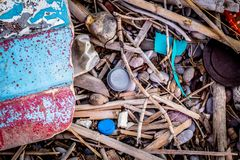 Waste from the Sea Lying on the Beach in Greece stock photography