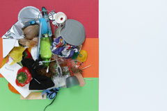 Waste segregation concept, not separated 5 types of garbage, cop Royalty Free Stock Photos