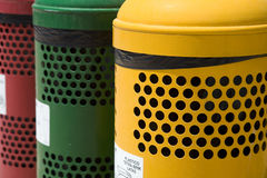 Waste separation bins. Colorfull waste separation bins on public spaces Stock Photos