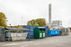 Waste separation. Bubbetorp, Sweden - October 21, 2015: Detail of organized and tidy waste separation on waste station. Combined heat and power plant in Royalty Free Stock Photography