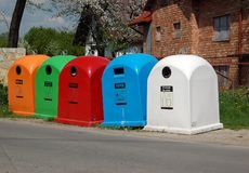 Waste separation containers Stock Images