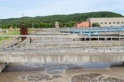 Waste sewage water aeration basin bubble Stock Images