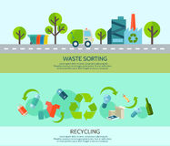 Waste Sorting Banners Set. Waste sorting and recycling horizontal banners set with materials and factory flat vector illustration royalty free illustration
