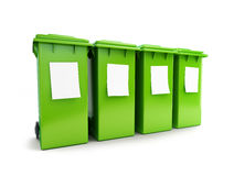 Waste sorting four green wheeled Stock Photo