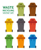 Waste sorting garbage bin set vector. Stock Photos