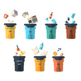 Waste sorting of garbage types set vector. Royalty Free Stock Photo
