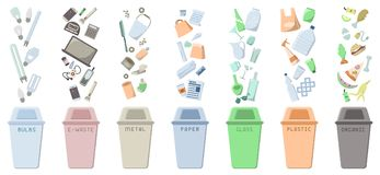Waste sorting icons set with dustbins and trash. Flat style vector illustration. Seven kinds of garbage. EPS10 stock illustration