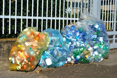 Waste sorting in Italy. Italy: bags with bottles plastic ready for transported for recycling Royalty Free Stock Photography