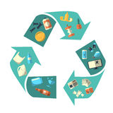 Waste sorting and recycling isolated symbol Royalty Free Stock Image