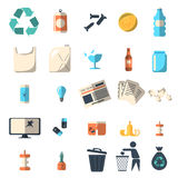 Waste sorting and recycling isolated symbols Stock Image