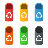 Waste sorting and recycling sorting management concept. Colorful garbage containers and bins. For different types of waste and rubbish. Vector stock illustration