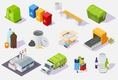 Waste sorting and recycling process isometric icon set, vector isolated illustration
