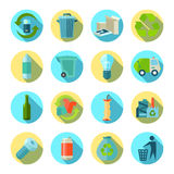 Waste Sorting Round Icons Set Stock Image