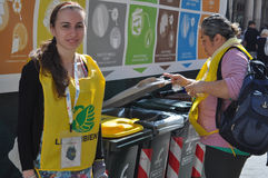 Waste sorting in Turin. TURIN, ITALY - CIRCA SEPTEMBER 2016: Waste sorting for ecological reuse of materials such as glass paper cans Stock Photo