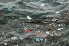 Waste on the surface of the ocean stock photos