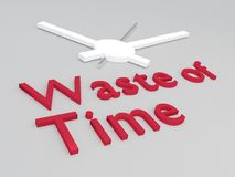 Waste of Time concept. 3D illustration of Waste of Time title with a clock as a background Royalty Free Stock Images