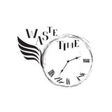 Waste time concept. Doodle retro watch dial with wing. Lost time concept. Doodle watch dial with damaged numbers sign. Business waste time retro emblem stock illustration