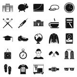 Waste of time icons set, simple style. Waste of time icons set. Simple set of 25 waste of time vector icons for web isolated on white background Stock Photos